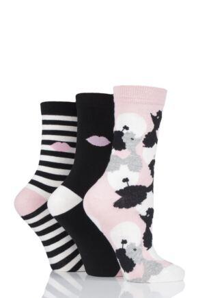 Ladies 3 Pair Lulu Guinness All Over Poodles Cotton Socks Black 4-8 Ladies