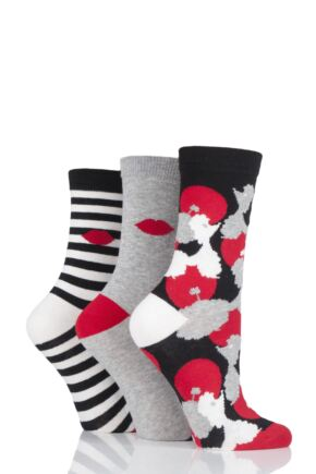 Ladies 3 Pair Lulu Guinness All Over Poodles Cotton Socks