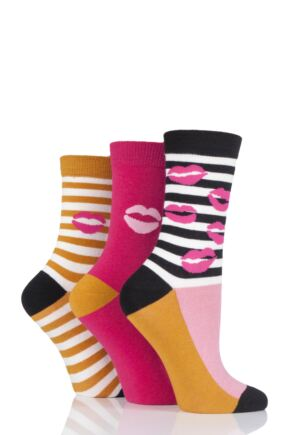 Ladies 3 Pair Lulu Guinness Kisses and Stripes Cotton Socks