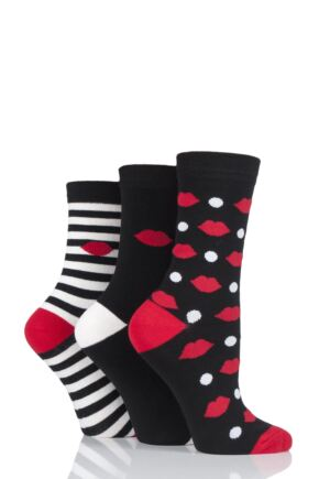 Ladies 3 Pair Lulu Guinness Lips Dots and Stripes Cotton Socks Black 4-8 Ladies