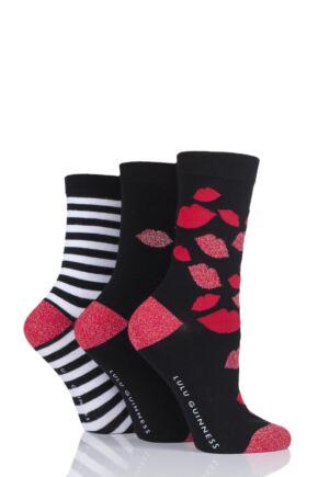 Ladies 3 Pair LuLu Guinness Stripes and Kisses Cotton Socks