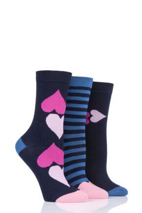 Ladies 3 Pair Lulu Guinness Hearts Cotton Socks