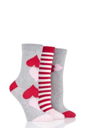 Ladies 3 Pair Lulu Guinness Hearts Cotton Socks Grey 4-8 Ladies