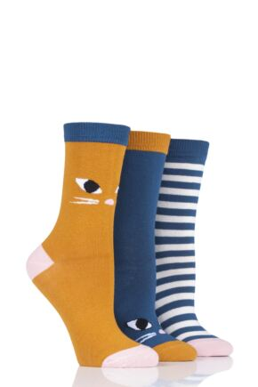 Ladies 3 Pair Lulu Guinness Cats Cotton Socks