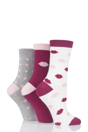 Ladies 3 Pair Lulu Guinness Lips and Dots Cotton Socks