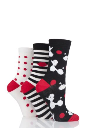 Ladies 3 Pair Lulu Guinness Poodles Stripes and Dots Cotton Socks