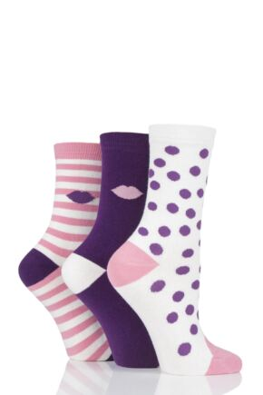 Ladies 3 Pair Lulu Guinness Dot and Stripes Cotton Socks