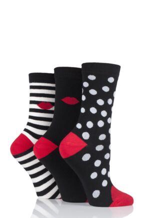 Ladies 3 Pair Lulu Guinness Dot and Stripes Cotton Socks Black 4-8 Ladies