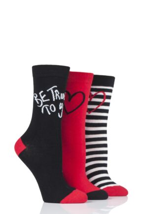 Ladies 3 Pair Lulu Guinness True To Your Cotton Socks