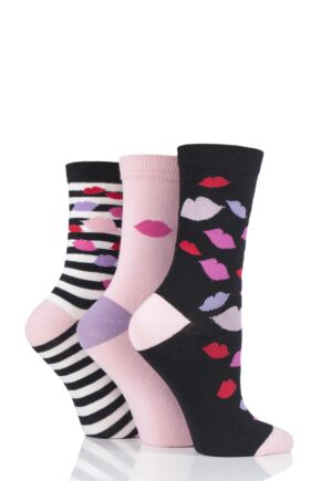 Ladies 3 Pair Lulu Guinness Black Lips Cotton Socks