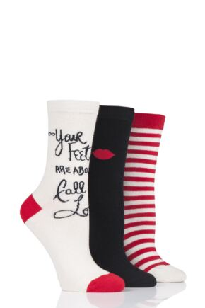 Ladies 3 Pair Lulu Guinness Love Cotton Socks