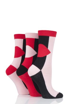 Ladies 3 Pair Lulu Guinness Large Lips Cotton Socks