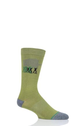 Mens and Ladies 1 Pair Stance Army Men Cotton Socks Green 3-5.5 Ladies