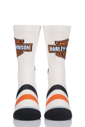 Mens 1 Pair Stance Harley Davidson Classic Cotton Socks Cream 5.5-8 Mens