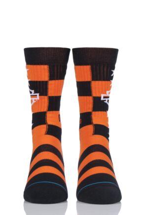 Mens 1 Pair Stance Harley Davidson Checkered Cotton Socks Orange 5.5-8 Mens