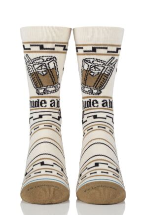 Mens and Ladies 1 Pair Stance The Big Lebowski The Dude Combed Cotton Socks Tan 3-5.5