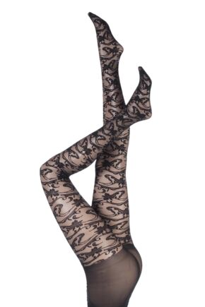 Ladies 1 Pair Aristoc All Over Floral Swirl Lace Design Tights