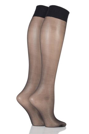 Ladies 2 Pair Aristoc 15 Denier Medium Support Knee Highs