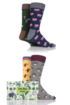 Mens 4 Pair Moustard Animal Design Socks In Gift Box