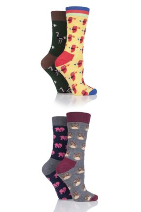 Ladies 4 Pair Moustard Animal Design Socks In Gift Box