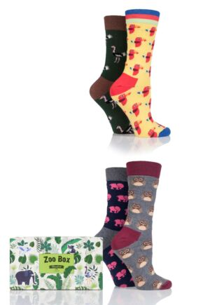 Ladies 4 Pair Moustard Animal Design Socks In Gift Box