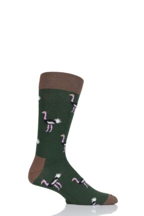 Mens 1 Pair Moustard Animal Design Socks - Ostrich