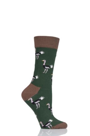 Ladies 1 Pair Moustard Animal Design Socks - Ostrich Green 3-6.5