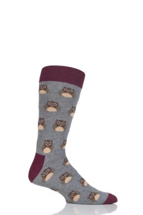 Mens 1 Pair Moustard Animal Design Socks - Owl Grey 7.5-11.5