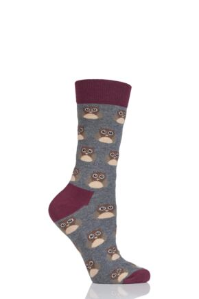 Ladies 1 Pair Moustard Animal Design Socks - Owl Grey 3-6.5