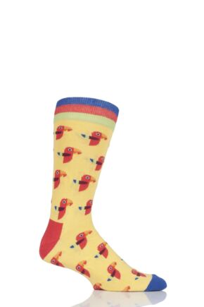 Mens 1 Pair Moustard Animal Design Socks - Parrot