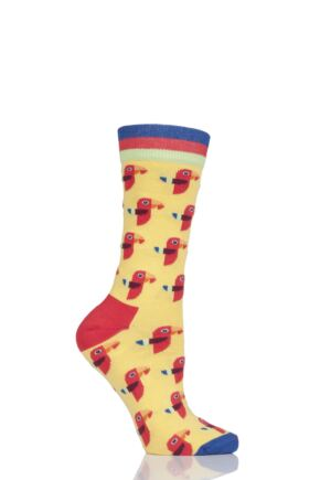 Ladies 1 Pair Moustard Animal Design Socks - Parrot
