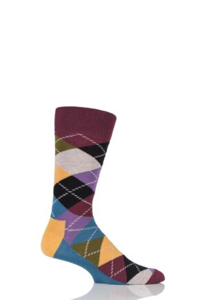Mens and Ladies 1 Pair Happy Socks Argyle Combed Cotton Socks Darks 4-7 Unisex