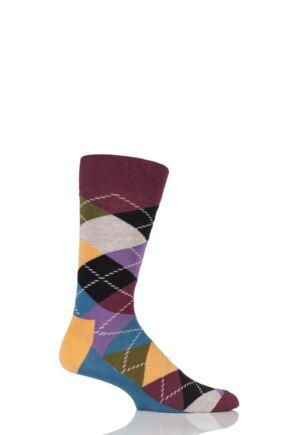 Mens and Ladies 1 Pair Happy Socks Argyle Combed Cotton Socks Darks 7.5-11.5 Unisex