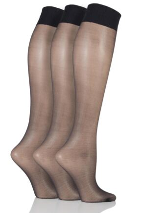 Ladies 3 Pair Aristoc 10 Denier Ultra Shine Knee Highs