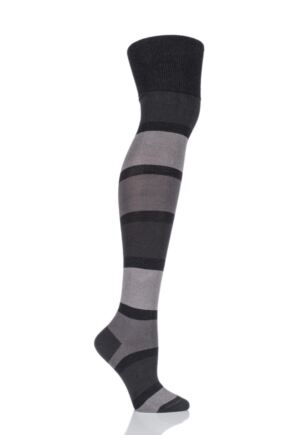Ladies 1 Pair Trasparenze Archetto Banded Striped Over The Knee Socks Grigio M/L