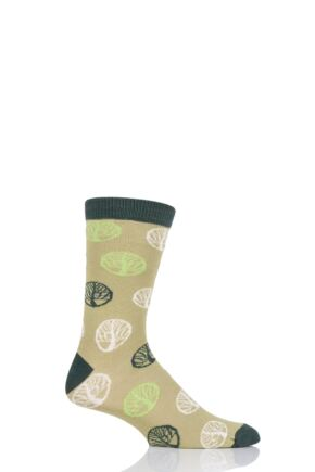 Mens and Ladies 1 Pair Shared Earth Tree of Life Fair Trade Bamboo Socks Green 3-7 Ladies