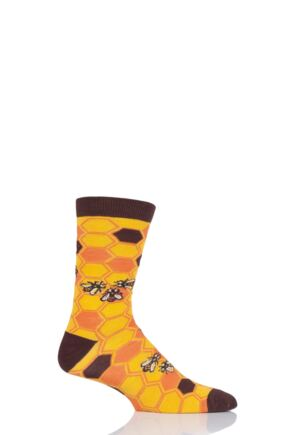 Mens and Ladies 1 Pair Shared Earth Save Our Bees Fair Trade Bamboo Socks Yellow 7-12 Mens