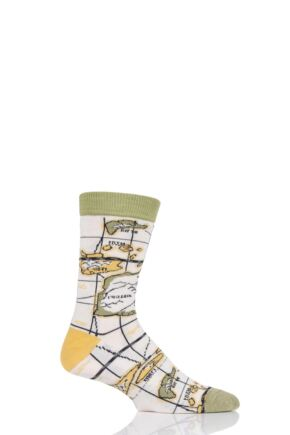 Mens and Ladies 1 Pair Shared Earth Globetrotter Fair Trade Bamboo Socks Yellow 3-7 Ladies