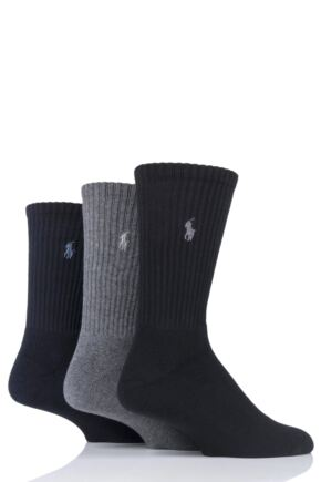 Mens 3 Pair Ralph Lauren Cotton Crew Sports Socks