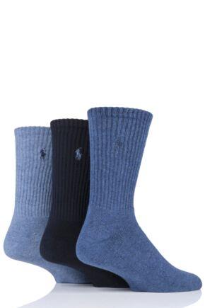 Mens 3 Pair Ralph Lauren Cotton Crew Sports Socks