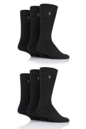 Mens 6 Pair Ralph Lauren Cotton Crew Sports Socks