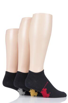Mens 3 Pair Ralph Lauren Big Polo Pony Cotton Trainer Socks