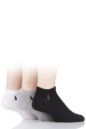 Mens 3 Pair Ralph Lauren Plain Cotton Ghost Ped Socks