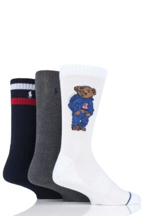 Mens 3 Pair Ralph Lauren Athletic Denim Bear Cotton Socks