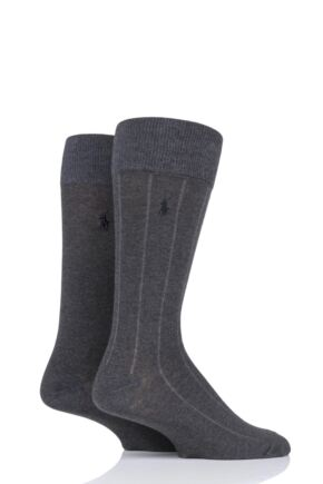 Mens 2 Pair Ralph Lauren Cotton Vertical Stripe and Plain Socks