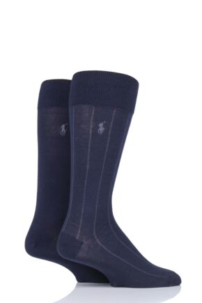 Mens 2 Pair Ralph Lauren Cotton Vertical Stripe and Plain Socks