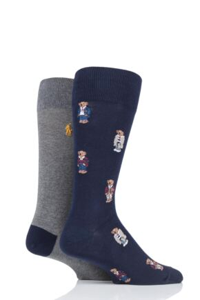 Mens 2 Pair Ralph Lauren 4 Bear Cotton Socks