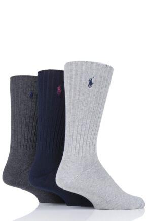 Mens 3 Pair Ralph Lauren Classic Cotton Crew Socks