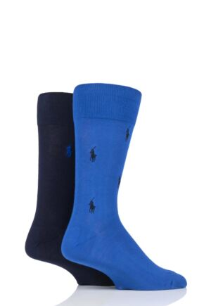 Mens 2 Pair Ralph Lauren Embroidered Horse and Plain Cotton Socks