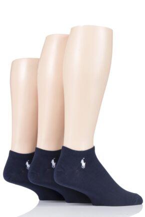 Mens 3 Pair Ralph Lauren Plain Cotton Trainer Socks